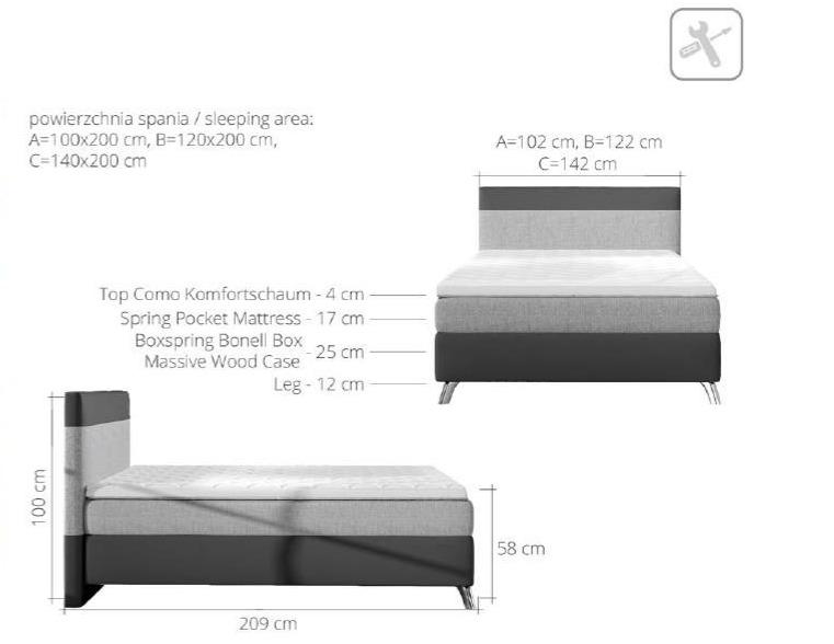 łóżko Kontynentalne Cosy 120