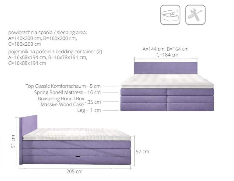 łóżko Emma 160 Z Pojemnikiem
