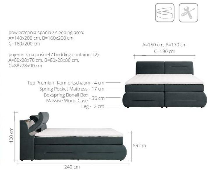 łóżko Kontynentalne Faro 160 Z Pojemnikiem