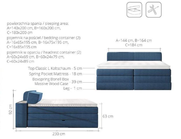 łóżko Kontynentalne Flexi 160 Z Pojemnikiem