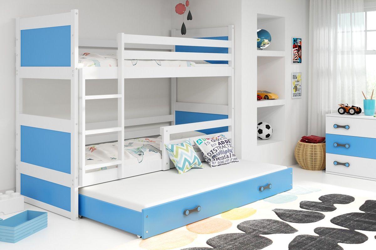 łóżko Rico Piętrowe 3 Osobowe Białe