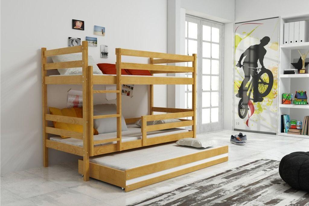 łóżko Eryk Piętrowe 3 Osobowe Olcha
